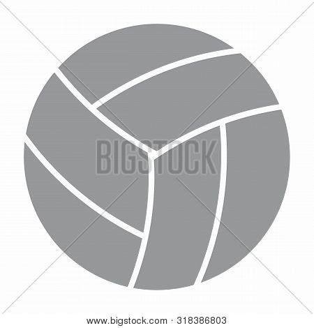 Gray Volley Ball Icon On White Background