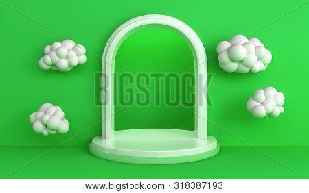 Simple Geometric Single Podium Pastel Color Scene Minimal Design For Product Display Podium 3d Rende