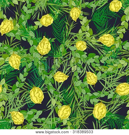 Happy Sukkot Seamless Pattern. Jewish Holiday Huts Endless Background. Repeated Texture With Branche