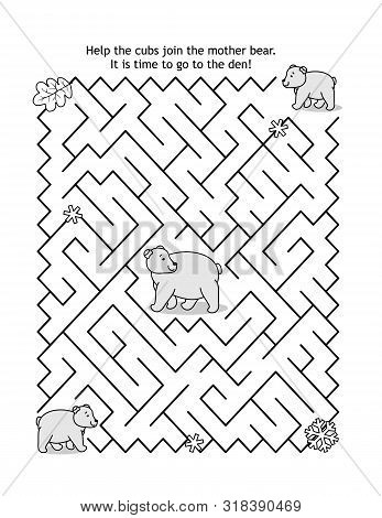 Maze Game For Kids With Two Bear Cubs And Mother Bear: Help The Cubs Join The Mom Bear. It Is Time T