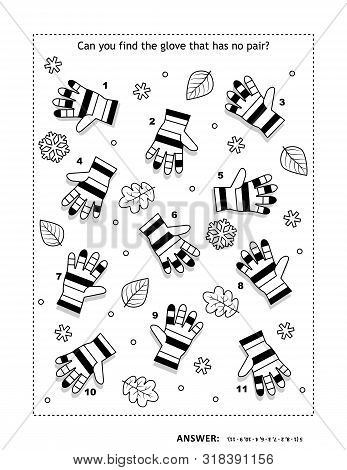 Iq Training Visual Logic Puzzle And Coloring Page With Striped Knitted Gloves. Match The Pairs. Spot