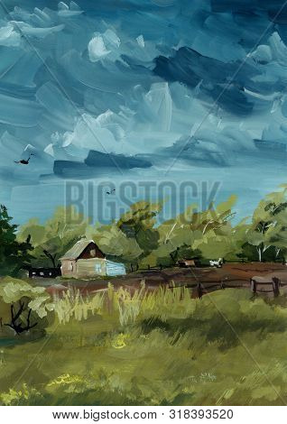 Painting Landscape, House In The Forest, Threatening A Field, Gouache Illustration