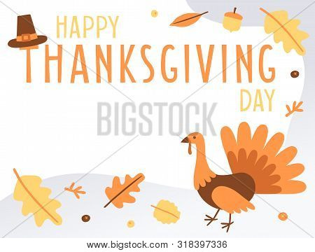 Hand Drawn Happy Thanksgiving Day Banner With Copy Space. Holiday Greeting Card With Turkey. Fall Co