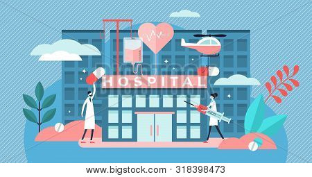 Hospital Vector Illustration. Flat Tiny Medical Ambulance Person Concept. Professional Clinic With D