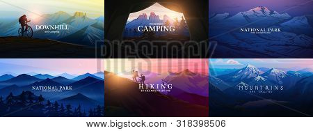 Set Of Layered Mountains For Poster. Dark Blue Landscape And Sunset. Hiking And Camping Concept. Fog