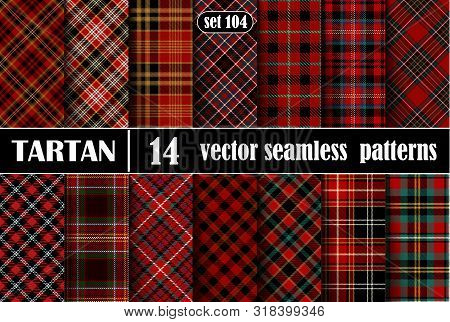 Set Red Tartan Seamless Pattern
