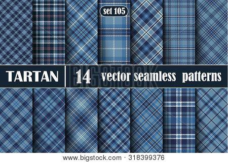 Set Blue Tartan Seamless Pattern