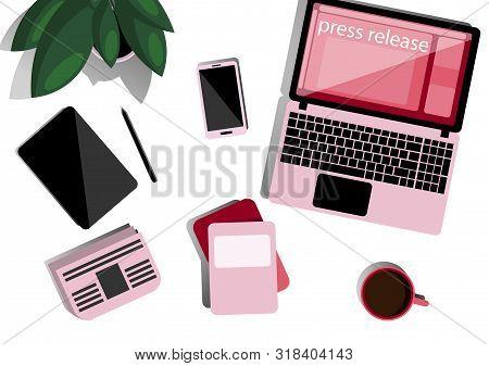 Online Press Release. Desktop In Flat Style Top View. Online News, Digital Media, Advertising. Lapto