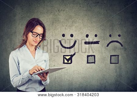 Customer Experience Concept. Happy Business Woman Giving Excellent Rating For Online Satisfaction Su