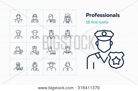Professionals Line Icon Set. Doctor, Sportsman, Policeman. Occupation Concept. Can Be Used For Topic