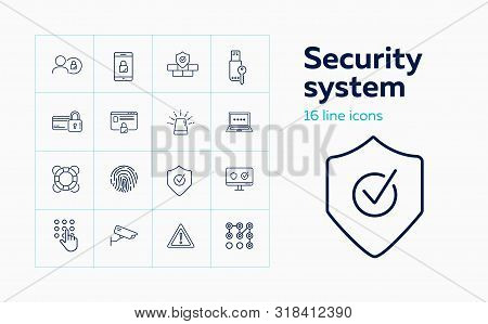 Security System Line Icon Set. Alarm Signal, Credit Card, Memory Stick With Key. Protection Concept.