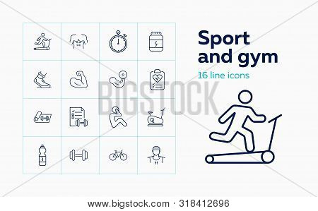 Sport And Gym Icons. Set Of Line Icons. Effort, Training, Bicep. Workout Concept. Vector Illustratio