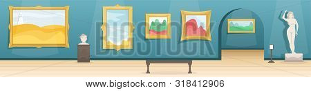 Fine Arts Museum. Hall With Paintings In Gilded Baguettes And Sculptures. Classical Art. Flat Vector