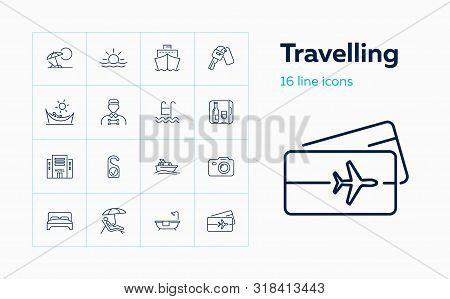 Travelling Icons. Set Of Line Icons On White Background. Cruise, Vacation, Sea Ship, Hotel. Vector I