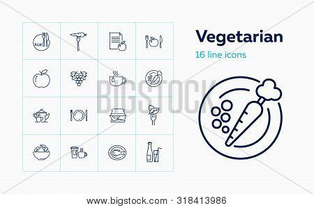Vegetarian Icons. Set Of Line Icons. Calorie, Grape, Salad, Fish. Dieting Concept. Vector Illustrati