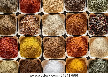 Various Types Of Oriental Spices And Herbs. Above View With Spices Background. Flat Lay Of Colorful