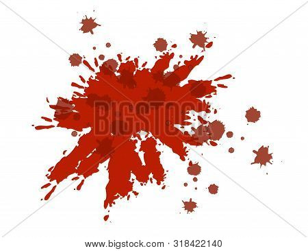 Blood Dribble Vector Template. Red Ink Drops Isolated On White. Blood Splatter. Abstract Watercolor