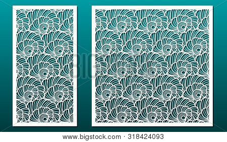 Laser Cut Panels Vector Set. Template Or Stencil For Wood Carving, Metal Cutting, Paper Art, Fretwor