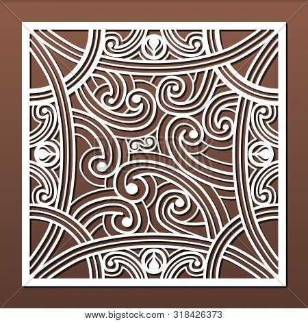 Laser Cut Panels Template, Abstract Geometric Pattern For Metal Cutout, Wood Carving, Fretwork Stenc