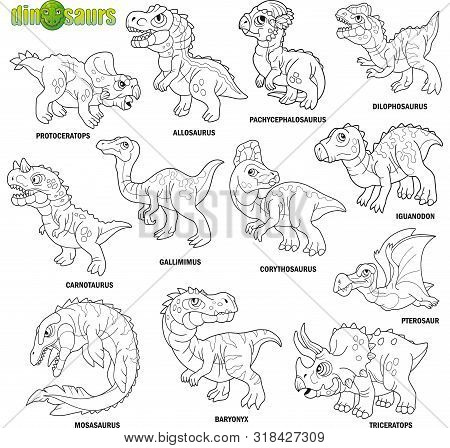 Cartoon Cute Prehistoric Dinosaurs, Coloring Book, Image Set