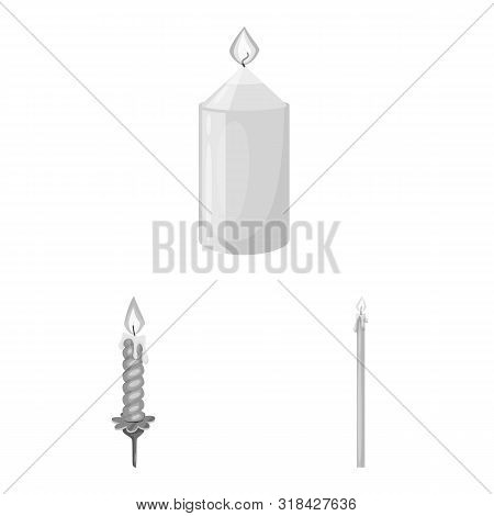 Vector Design Of Paraffin And Fire Logo. Set Of Paraffin And Decoration Vector Icon For Stock.