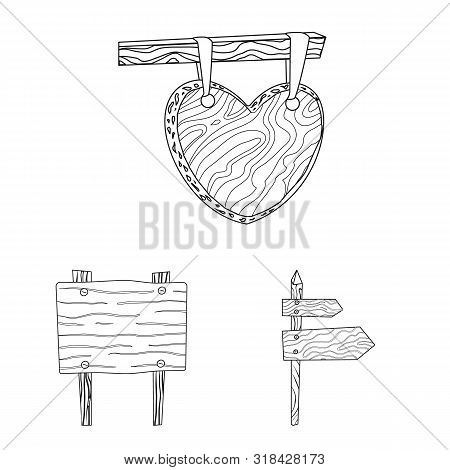 Vector Illustration Of Hardwood And Material Icon. Collection Of Hardwood And Wood Stock Symbol For