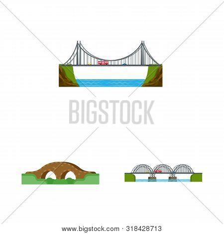 Vector Illustration Of Bridgework And Bridge Logo. Set Of Bridgework And Landmark Vector Icon For St