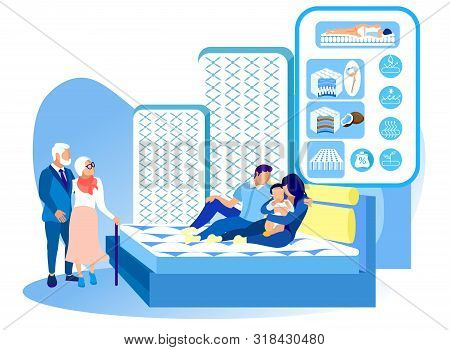 Family Testing Mattress In Salon Mattres. New Collection. Healthy Sleep. Health Care. Vector Illustr