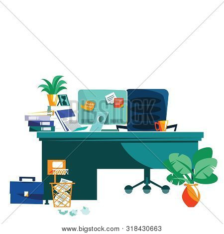 Office Interior Isolated On White Background Cartoon Vector Illustration. Workplace With Table, Comp