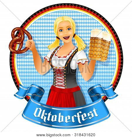 Oktoberfest Girl Holds Beer Glass And Pretzel. Waitress In Bavarian Dirndl. Banner Ribbon With Title