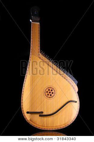 Retro bandura- Ukrainian musical instrument on black background poster