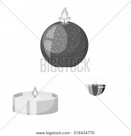 Vector Design Of Paraffin And Fire Logo. Set Of Paraffin And Decoration Stock Vector Illustration.