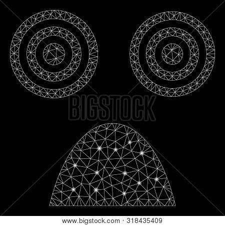 Glowing Mesh Horror Smiley With Sparkle Effect. Abstract Illuminated Model Of Horror Smiley Icon. Sh