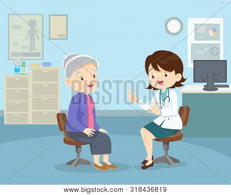 Doctor Examining Old Patientdoctor Examining Old Patient.doctor Talking With Elderly Patient About S