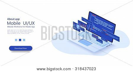 Programming Web Banner. Web Development, Application Design, Coding And Programming On Laptop Concep