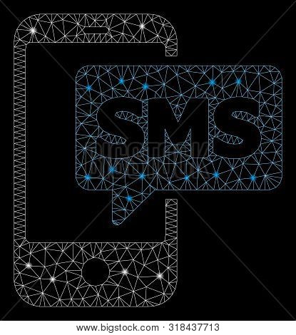 Flare Mesh Phone Sms With Sparkle Effect. Abstract Illuminated Model Of Phone Sms Icon. Shiny Wire F