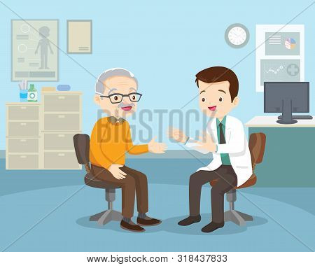 Doctor Examining Old Patient.doctor Talking With Elderly Patient About Symptoms Adult Patient Visiti