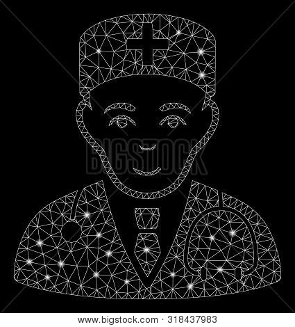 Glossy Mesh Physician With Sparkle Effect. Abstract Illuminated Model Of Physician Icon. Shiny Wire
