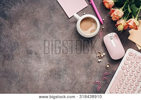 Flat Lay Female Workspace - Modern Keyboard, Mouse, Cup Of Coffee, Rose Flowers, Jewelry And Station