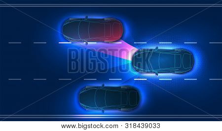 Automatic Braking System Avoid Car Crash From Car Accident. Concept For Driver Assistance Systems. A