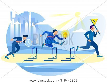 Competitive Process In Business. Achive Goal. Overcome Obstacles. Competition In Work Process. Runni