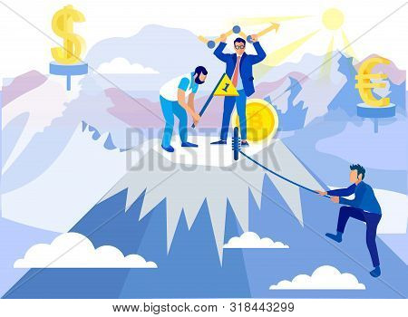 Man Conquers Summit. Teamwork In Buisness. Achive Goal. Overcome Obstacles. Successful Businessman.