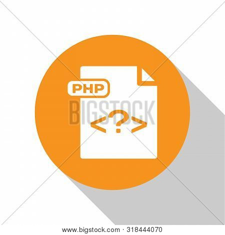 White Php File Document. Download Php Button Icon Isolated On White Background. Php File Symbol. Ora
