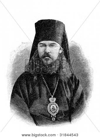 Reverend Nicholas, Archbishop of Finland. Engraving by  from picture by Shyubler. Published in magazine
