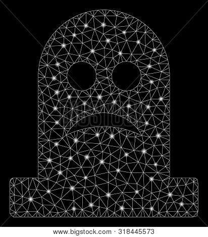 Glowing Mesh Sad Tomb With Glare Effect. Abstract Illuminated Model Of Sad Tomb Icon. Shiny Wire Fra