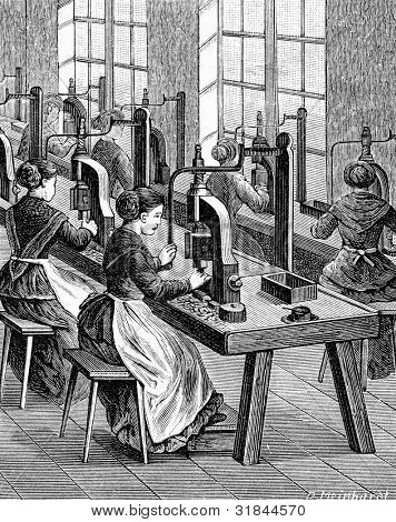 Factory for production of fountain pens. Cleavage of feathers. Engraving by  Shyubler. Published in magazine
