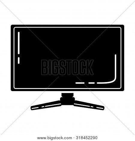 Gaming monitor glyph icon. Esports equipment. Computer monitor. Game device. Silhouette symbol. Negative space. Vector isolated illustration poster