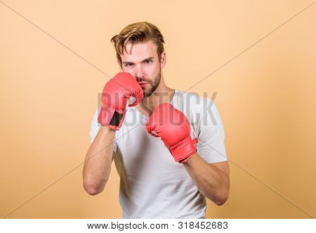 Strong Muscles Equal Weapon. Motivated For Victory. Sportsman Boxer With Gloves. Boxing Concept. Man