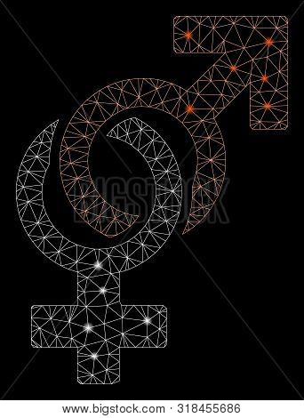 Glowing Mesh Sexual Symbols With Glare Effect. Abstract Illuminated Model Of Sexual Symbols Icon. Sh