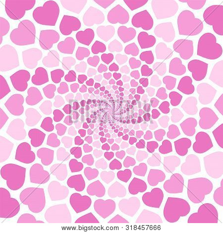 Pink Spiral Heart Pattern Background, Hypnotizing Tunnel. Symbolic For Rapture Of Love, Confusion Of